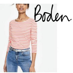 Boden 'Breton' white & coral pink striped shirt 12